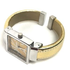 Gold and Silver Fashion Bangle Bracelet Watch